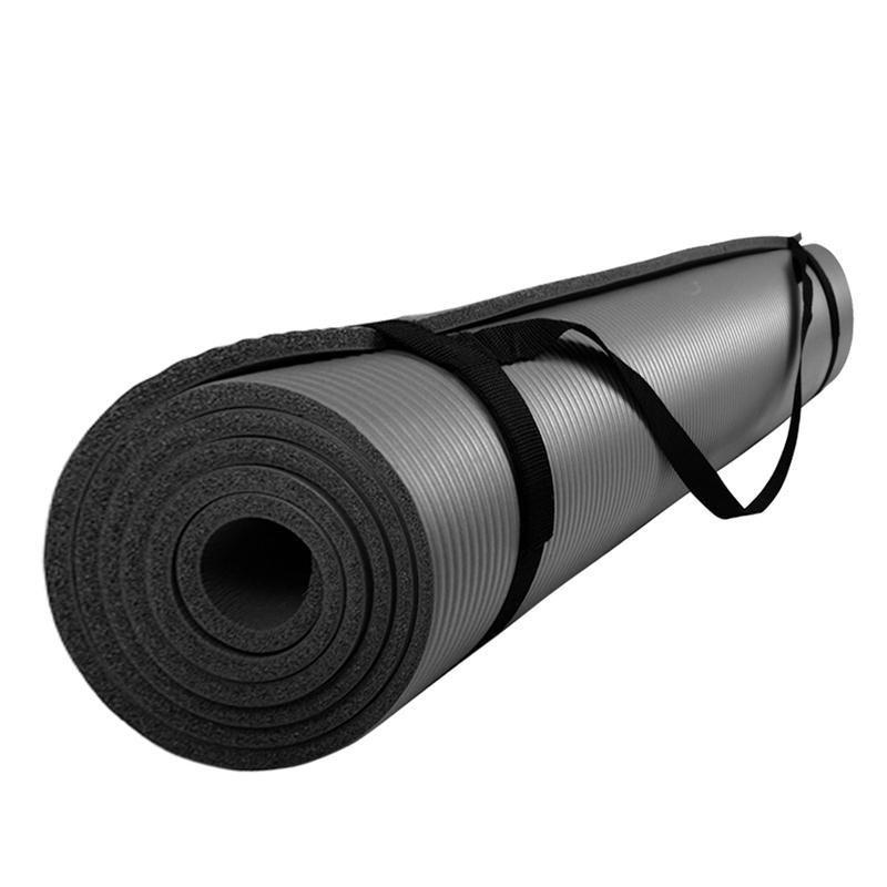 Gymnastikmatte Sportmatte mit Tragegurt 185 x 100 x 1 cm schwarz