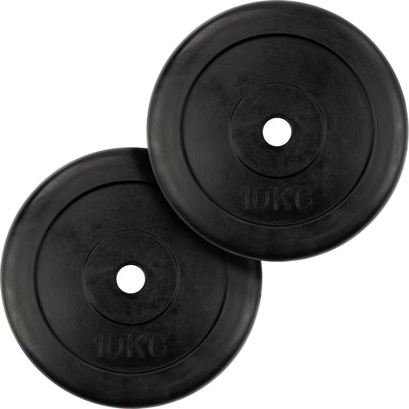 2 x 10 kg Hantelscheiben Gummi Ø 30 mm