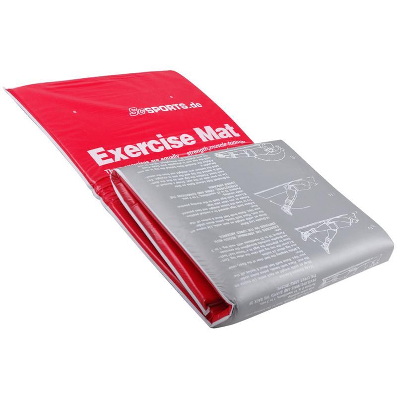 Gymnastikmatte Sportmatte faltbar 180 x 60 x 2 cm grau/rot