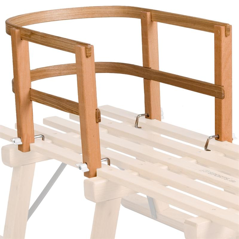 Holzschlitten Davos 110 cm + Holzlehne + Ziehgurt